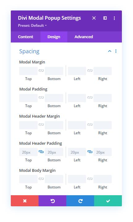 Spacing settings for the Design tab