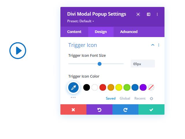 Trigger Icon settings