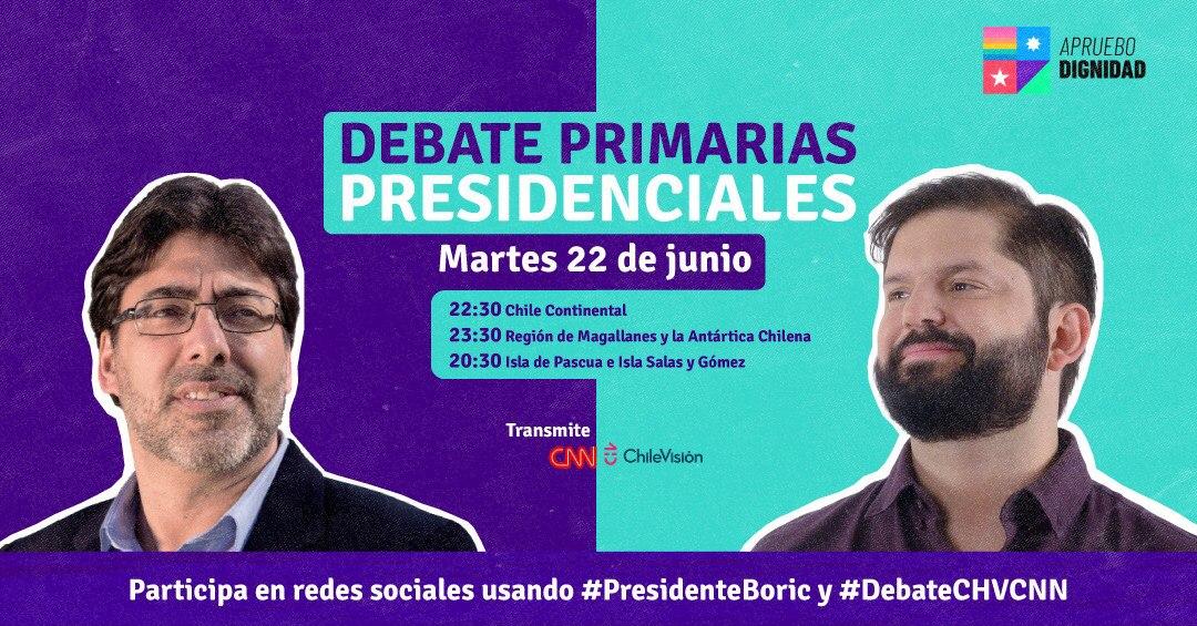 En vivo registramos y comentamos: Debate Primarias Apruebo Dignidad Daniel Jadue – Gabriel Boric