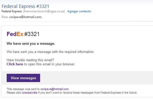 Tipo de phishing FedEx