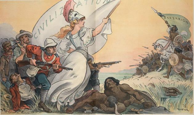 """Alegoria inglesa mostrando a conquista da """"civilização"""" sobre o """"barbarismo"""" africano"""