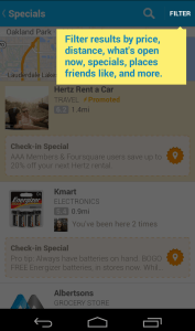 The New FourSquare Highlights Specials
