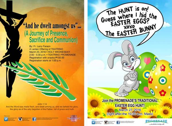 Fr. Larry Faraon's Lenten Recollection at Teatrino, March 23 and Easter Egg Hunt at Promenade, March 27