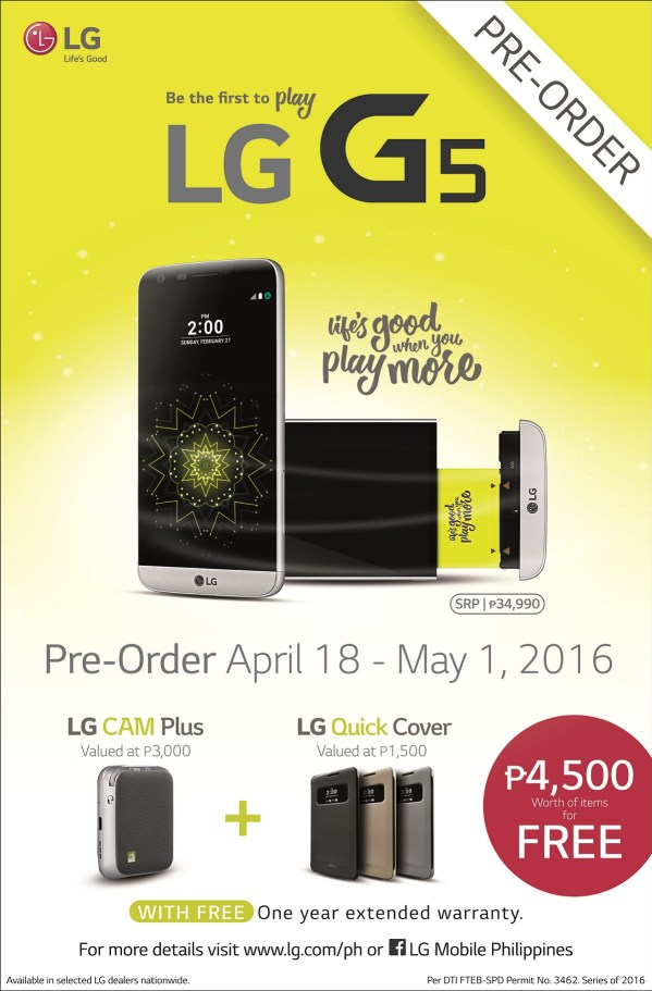 G5 now accepting pre-order in the Philippines