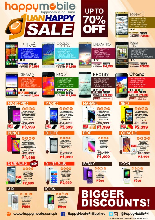 Happy Mobile up to 70 percent off