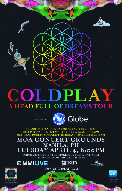 Coldplay Announce Asian Tour for April 2017 Band to play stadium shows in five countries