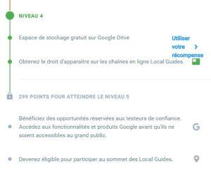 Local Guide Google Niveau 4 - Niveau 5 restant à débloquer