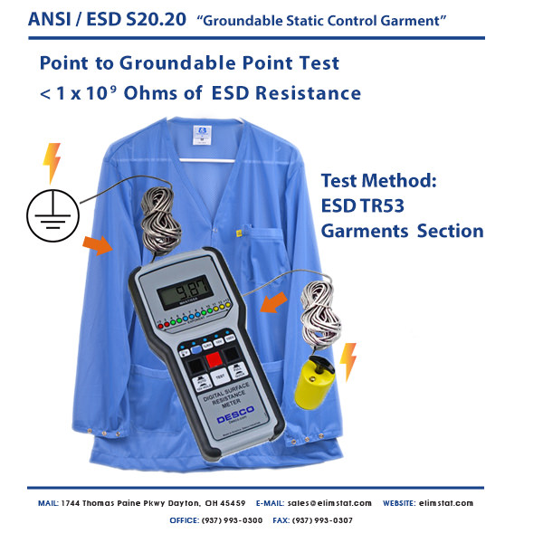 Resistance Point to Ground Measurement of ESD Smock with Desco™ ESD Resistivity Meter