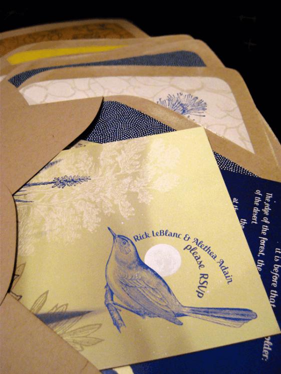 wedding invitation and envelopes