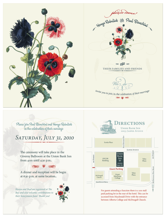 wedding invitation back and front