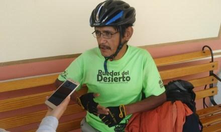 Ciclista que divulga mensajes de paz por todo México, llega a San Francisco