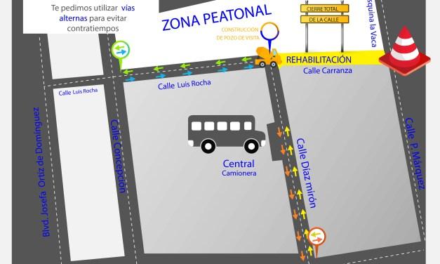 Anuncia SAPAF cierre de la calle Carranza; harán rehabilitación integral del drenaje