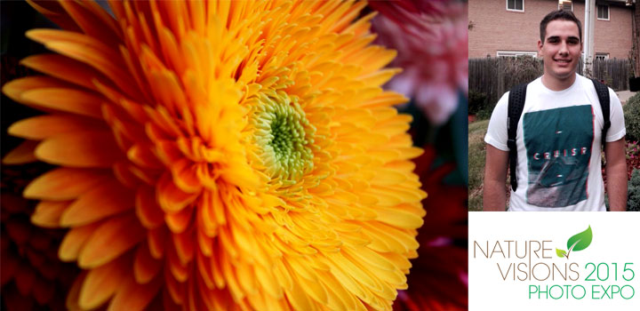 Gabriel Arias of Potomac. Md. and Winston-Churchill High School with his two finalist photos, (L to R) 'Bloom' and 'Harmony.'