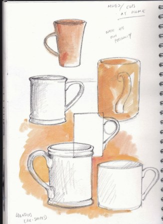 Sketching cups in the house