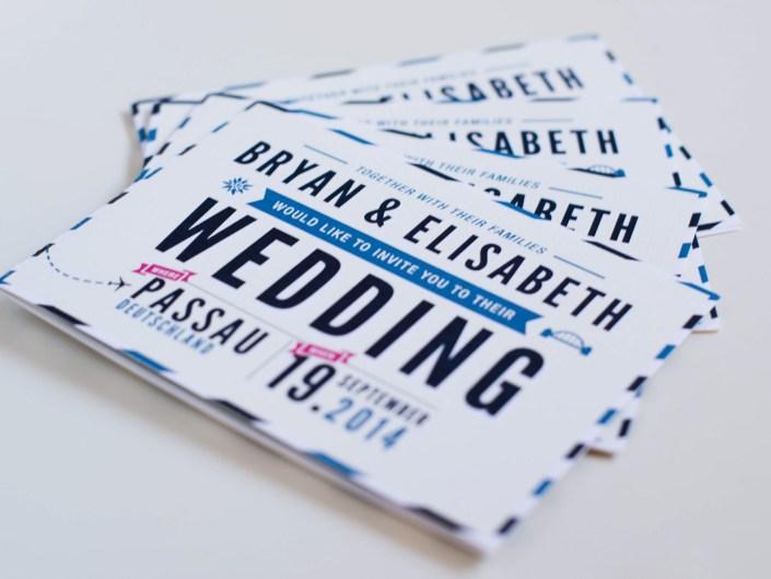 Vintage Post Card Blue & Beige Wedding Stationary