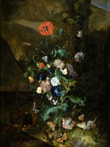 An arrangement of flowers by a tree trunk, Rachel Ruysch(1664 - 1750, Dutch)Netherlands, Amsterdam (place of manufacture)oil on canvas36 7/8 x 28 in; 93.7 x 71.1 cm; framed: 1186 x 865 x 130 mm Painting entitled 'An arrangement of flowers by a tree trunk', by Rachel Ruysch. Painted in Amsterdam, where Ruysch spent most of her life, this reflects the Dutch mania for flowers. Such pictures found a ready market with rich and noble patrons. It is an early work of the type known as 'forest floor piece'. The flowers move upwards in a spiral. The Dutch love of varied detail is seen in the insects, fungi, and lizard. The artist used a sponge to apply the paint to get the correct texture for the moss and pressed fabric against the wet surface to portray the scales of the lizard.45