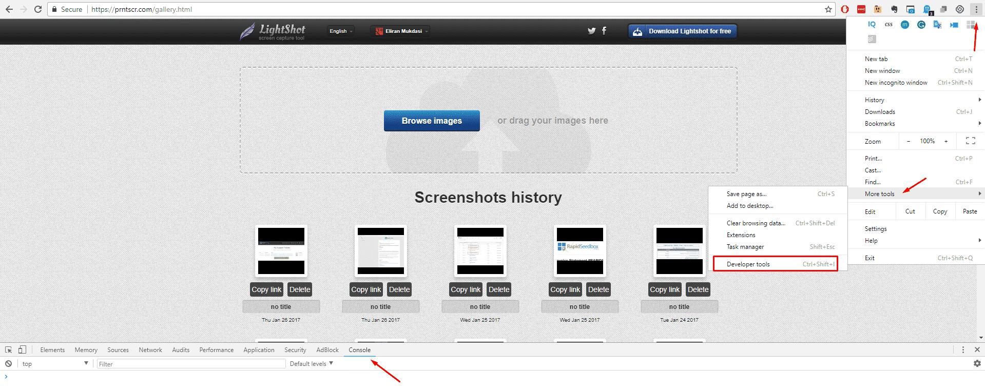 how to delete a lightshot image