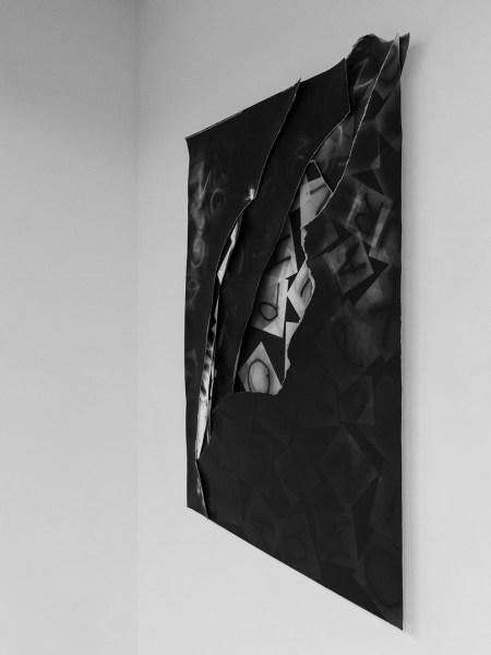 "Dialog by Elisabeth Ajtay-Exhibition view at Don Soker Gallery San Francisco of ""Untitled (Subjugated)"" comprised of  collaged layers of photograms"