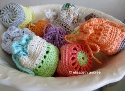 pouches in an old earthenware dish