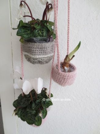 crochet baskets and plants