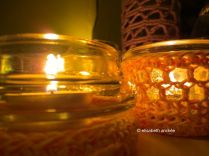crochet covers for glass jars which now serve as tealights