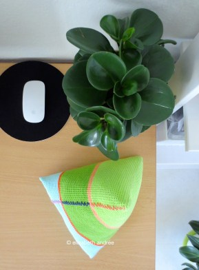 crochet pyramid shape on desk