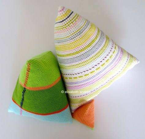 three crochet pyramid shapes by elisabeth andrée