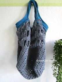 crochet bag anthracite and petrol cotton yarn