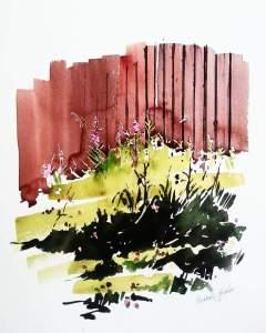 """""""Rallarrosor vid båthuset"""", akvarell av Elisabeth Biström"""