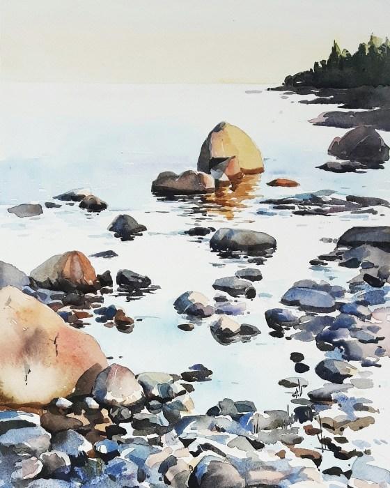 """En sensommarkväll"", akvarell av Elisabeth Biström"