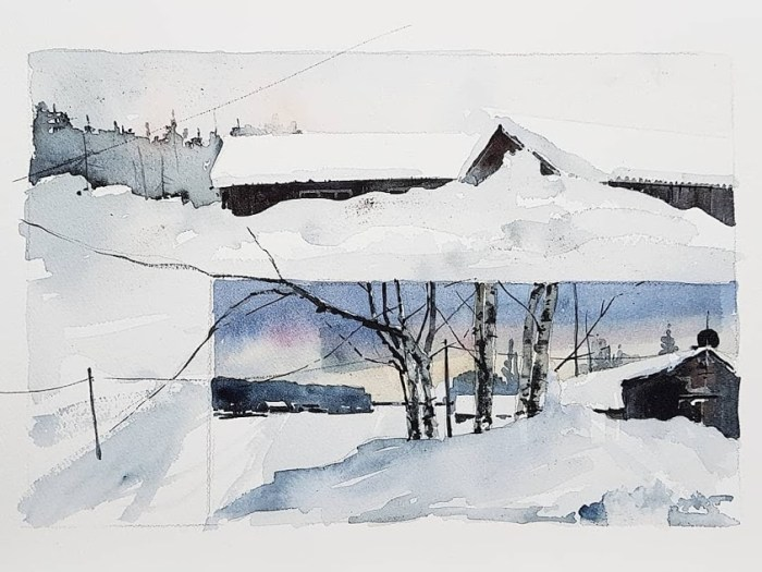 Akvarell av Elisabeth Biström 2018: Vårvinter I