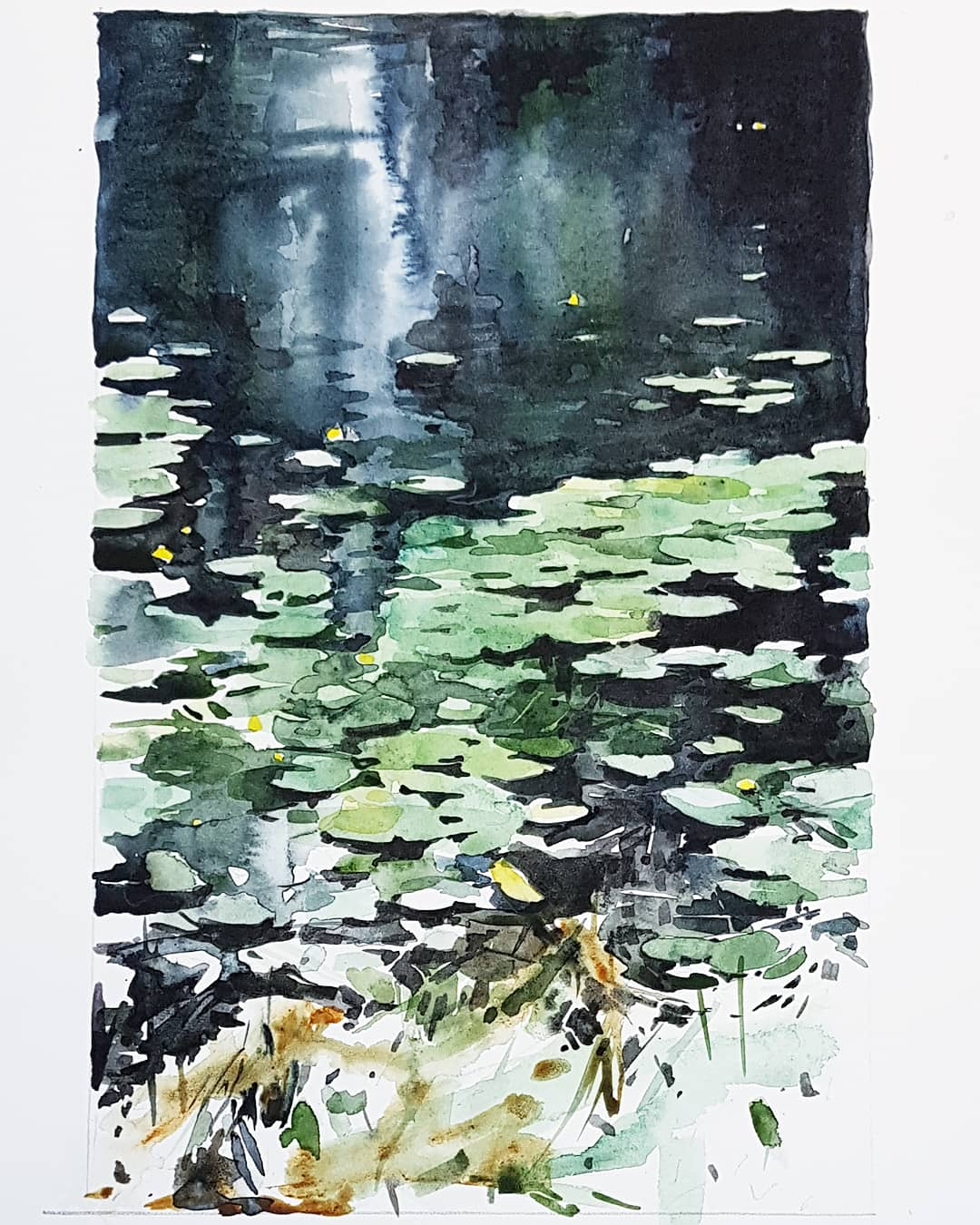 """Strax under ytan"", akvarell av Elisabeth Biström 2018"