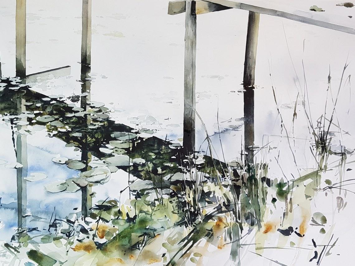 Höststrand, akvarell av Elisabeth Biström
