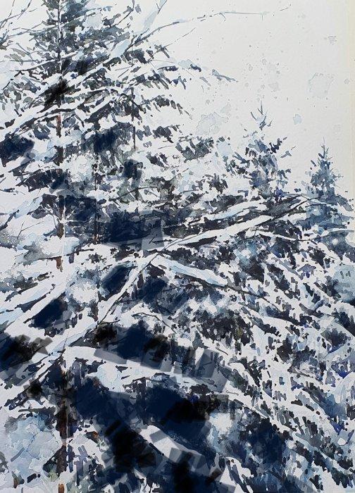 Halvfärdig akvarell med digital skiss