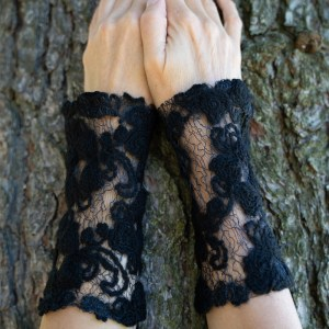 Black Lace Wrist Warmers
