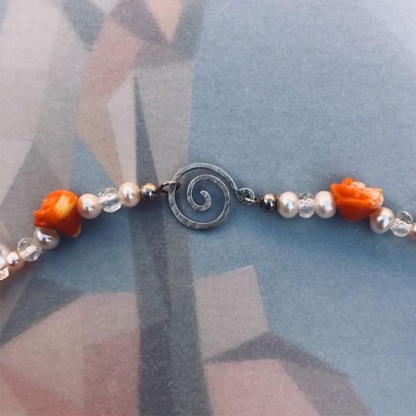 Necklace Orange Flower Clasp