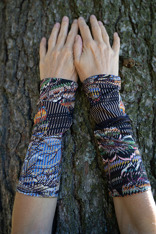 wrist warmers abstract flower