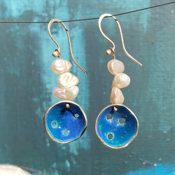 Earrings Blue Enamel Keshi