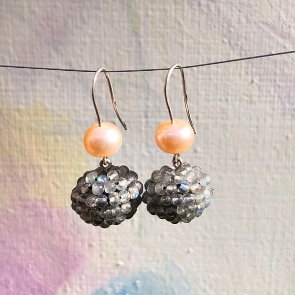 Earrings Labradorite Ball