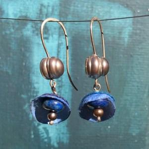 Earrings Silk Cocoons Lapislazuli