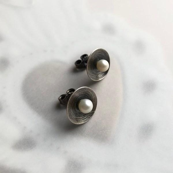 ear studs in oxidized silver