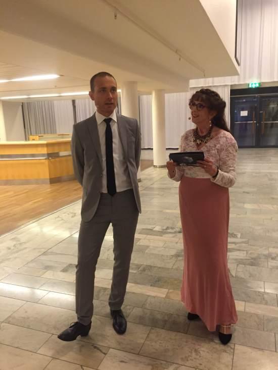 Jesper och jag repar inför vårt framträdande på Kristallen Foto: Camilla Zamek