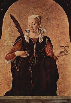 Lucia - ett kvinnligt helgon Bild: Wikipedia