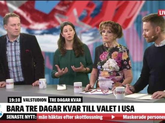 Gårdagens USA-panel i Expressen TV, fr v Fredrik Segerfeldt, Paulina Neuding, Elisabet Höglund och Hans Linde. Bild: expressen.se