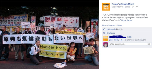 hoto People's Climate March: this inspiring group helped start People's Climate demanding that Japan goes Nuclear Free, Carbon Free!