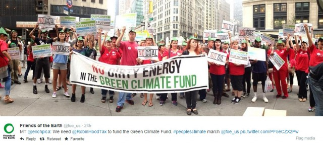hoto People's Climate March: NYC Robin Hood Tax crowd with banner: No Dirty Energy in the Green Climate Fund.