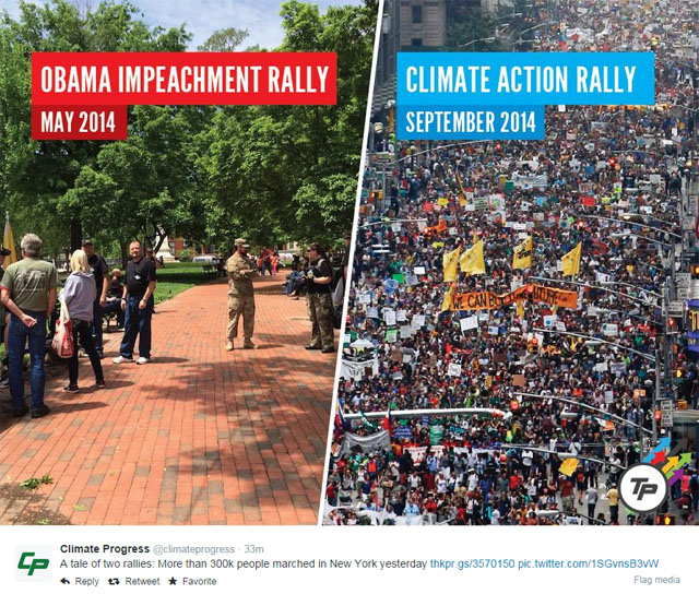 Photo People's Climate March: Turnout for People's Climate March vs. Lame Obama impeachment rally.