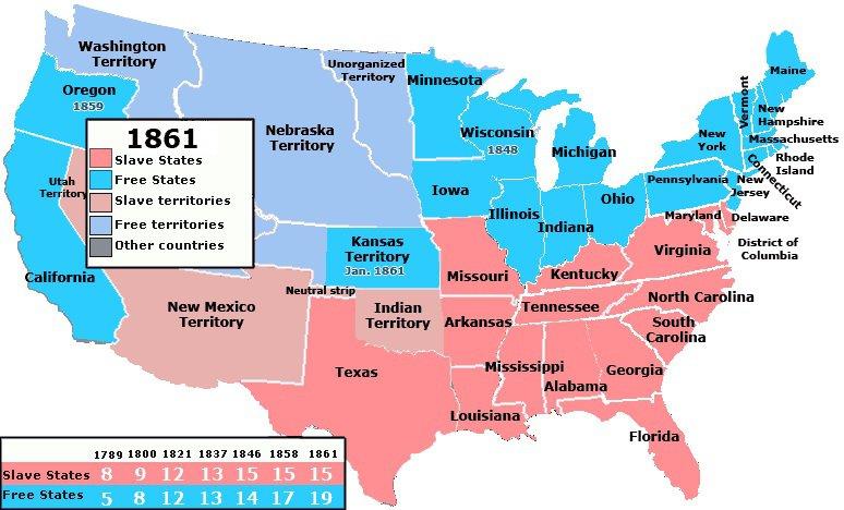 The Southernization of America - Slave vs. Free states.