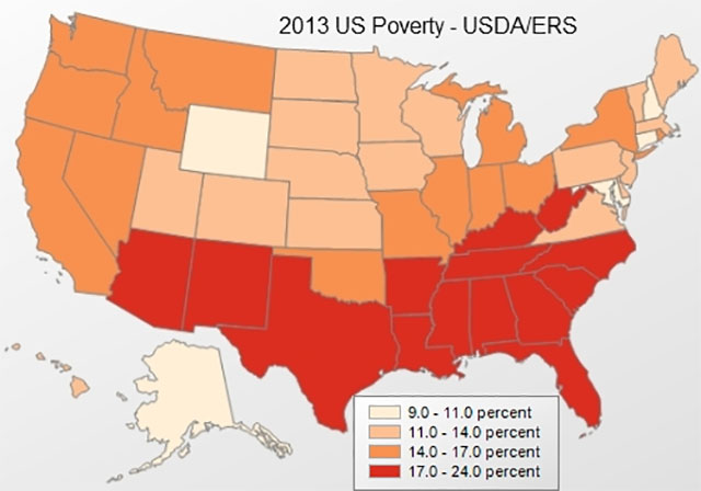 The Southernization of America: 2013 US Poverty rates via the USDA.