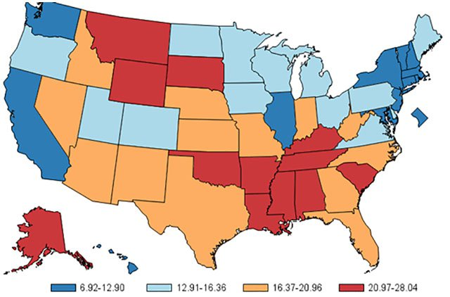 Map 8 The Southernization Of America Rates Of Child Injuries That Result In